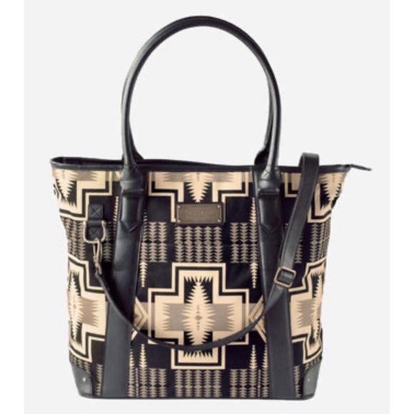 Pendleton Handbags - Pendleton Black & Tan Geometric Harding Tote